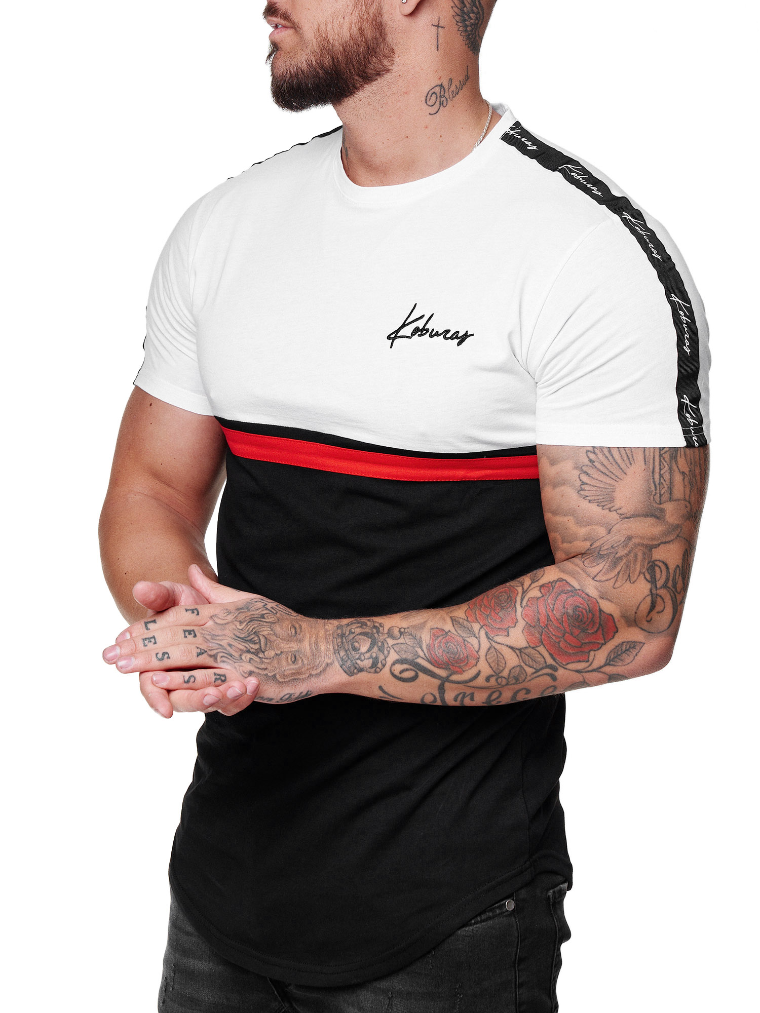 Herren T Shirt Kurzarm Rundhals Gestreift Oversize Tee Modell 20
