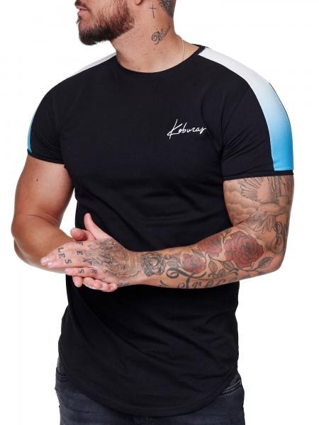 Herren T-Shirt Kurzarm Rundhals Seitenstreifen Oversize Tee Modell 2164